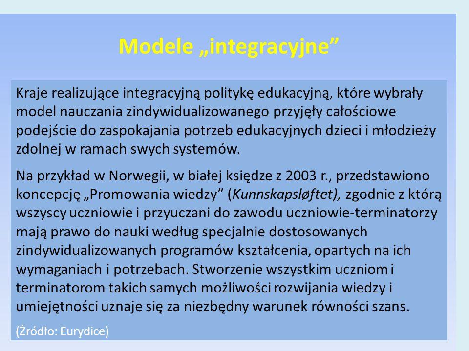 """Modele """"integracyjne Kraje realizujące integracyjną politykę edukacyjną, które wybrały model nauczania zindywidualizowanego przyjęły całościowe podejście do zaspokajania potrzeb edukacyjnych dzieci i młodzieży zdolnej w ramach swych systemów."""