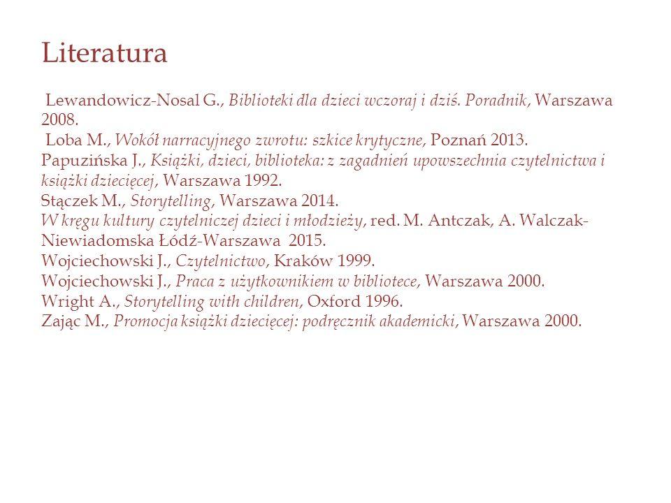Literatura Lewandowicz-Nosal G., Biblioteki dla dzieci wczoraj i dziś.