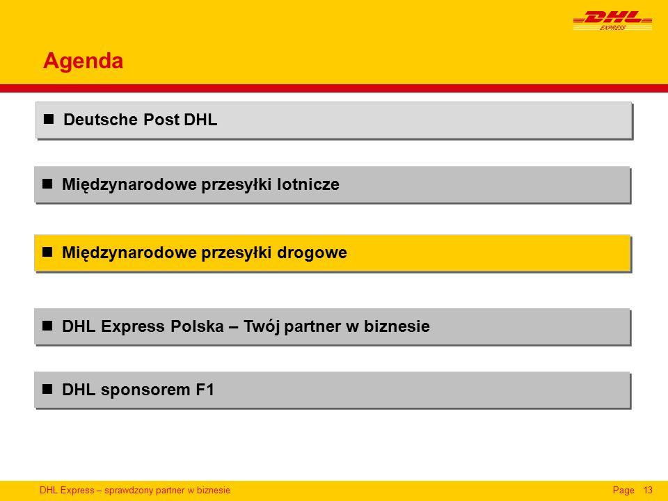 DHL Express – sprawdzony partner w biznesiePage13 Międzynarodowe przesyłki lotnicze Deutsche Post DHL DHL Express Polska – Twój partner w biznesie Międzynarodowe przesyłki drogowe Agenda DHL sponsorem F1