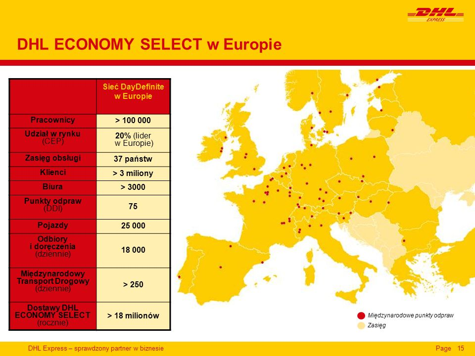 DHL Express – sprawdzony partner w biznesiePage15 DHL ECONOMY SELECT w Europie Sieć DayDefinite w Europie Pracownicy > 100 000 Udział w rynku (CEP) 20% (lider w Europie) Zasięg obsługi 37 państw Klienci > 3 miliony Biura > 3000 Punkty odpraw (DDI) 75 Pojazdy 25 000 Odbiory i doręczenia (dziennie) 18 000 Międzynarodowy Transport Drogowy (dziennie) > 250 Dostawy DHL ECONOMY SELECT (rocznie) > 18 milionów Międzynarodowe punkty odpraw Zasięg