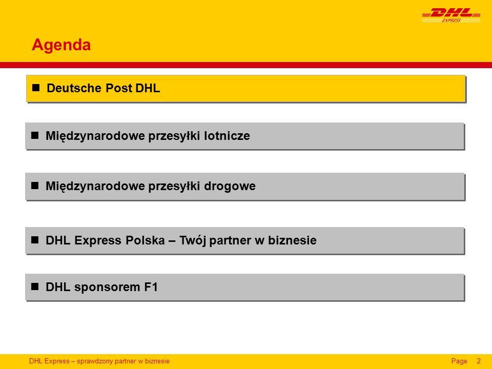 DHL Express – sprawdzony partner w biznesiePage2 Międzynarodowe przesyłki lotnicze Deutsche Post DHL DHL Express Polska – Twój partner w biznesie Międzynarodowe przesyłki drogowe Agenda DHL sponsorem F1