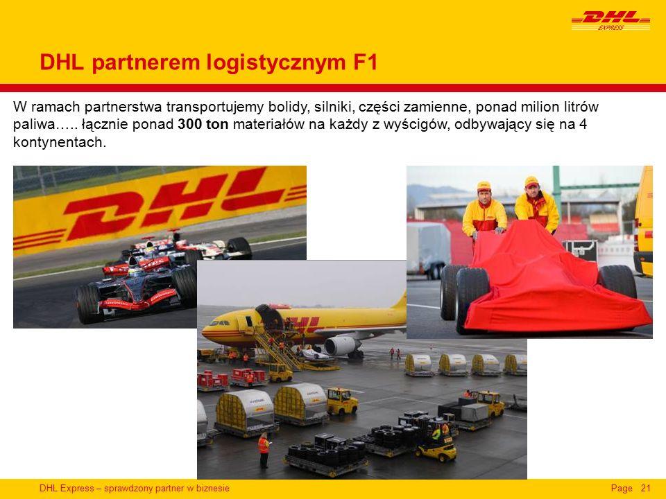 DHL Express – sprawdzony partner w biznesiePage21 W ramach partnerstwa transportujemy bolidy, silniki, części zamienne, ponad milion litrów paliwa…..