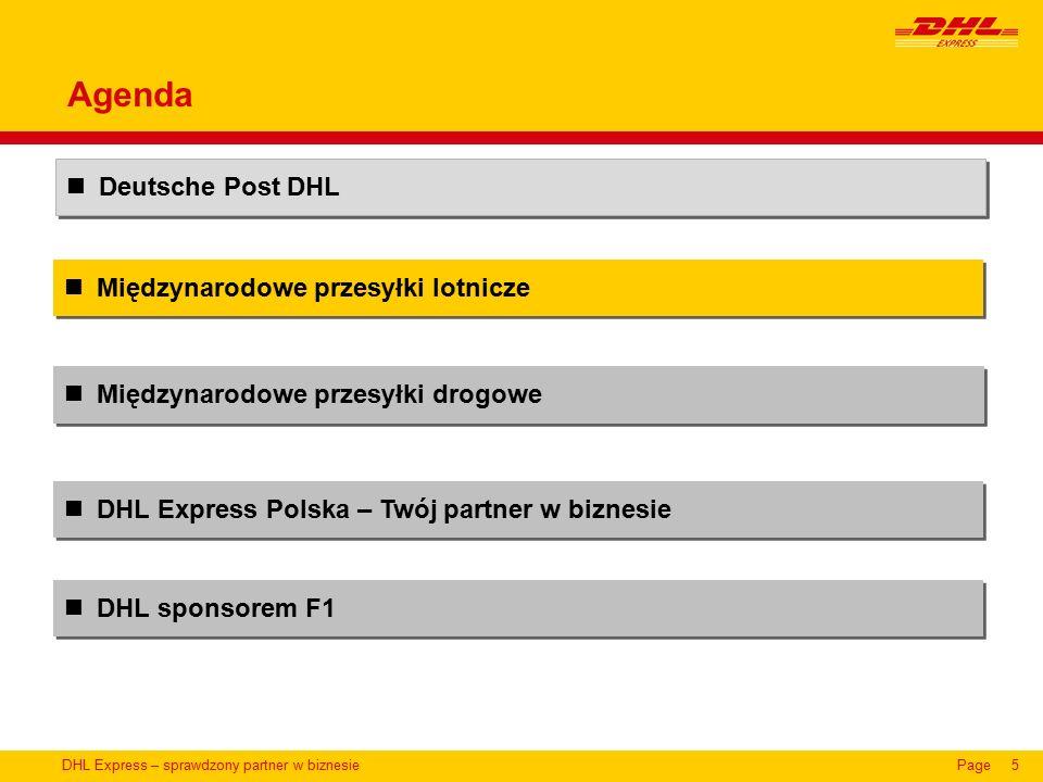 DHL Express – sprawdzony partner w biznesiePage16 Międzynarodowe przesyłki lotnicze Deutsche Post DHL DHL Express Polska – Twój partner w biznesie Międzynarodowe przesyłki drogowe Agenda DHL sponsorem F1