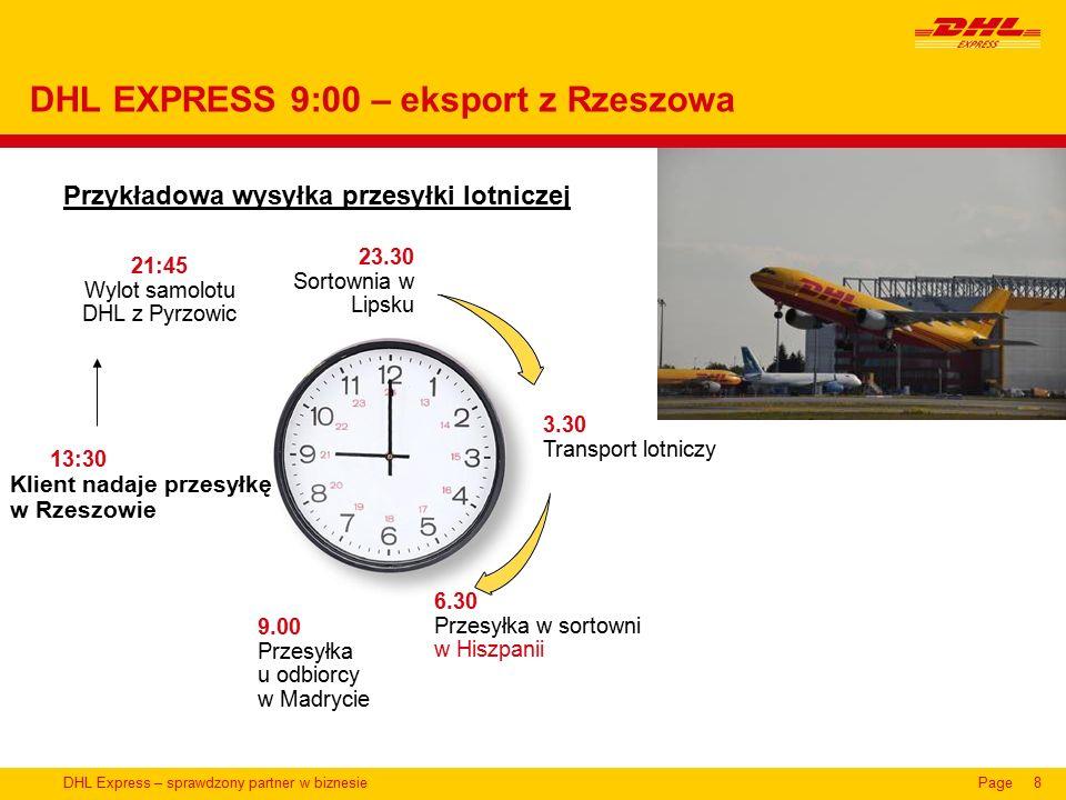 DHL Express – sprawdzony partner w biznesiePage8 Przykładowa wysyłka przesyłki lotniczej DHL EXPRESS 9:00 – eksport z Rzeszowa 23.30 Sortownia w Lipsku 3.30 Transport lotniczy 6.30 Przesyłka w sortowni w Hiszpanii 9.00 Przesyłka u odbiorcy w Madrycie 13:30 Klient nadaje przesyłkę w Rzeszowie 21:45 Wylot samolotu DHL z Pyrzowic