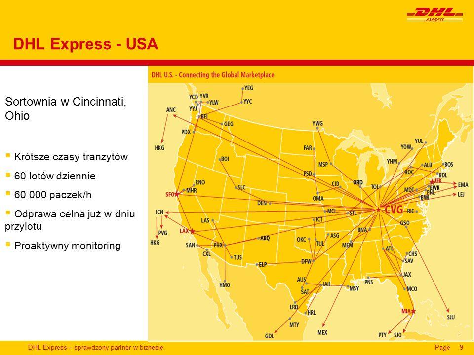 DHL Express – sprawdzony partner w biznesiePage9 DHL Express - USA Sortownia w Cincinnati, Ohio  Krótsze czasy tranzytów  60 lotów dziennie  60 000 paczek/h  Odprawa celna już w dniu przylotu  Proaktywny monitoring