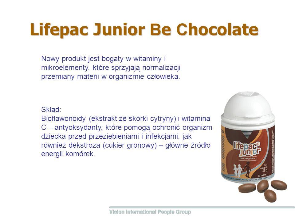 Lifepac Junior В e С hocolate Skład: Bioflawonoidy (ekstrakt ze skórki cytryny) i witamina С – antyoksydanty, które pomogą ochronić organizm dziecka p