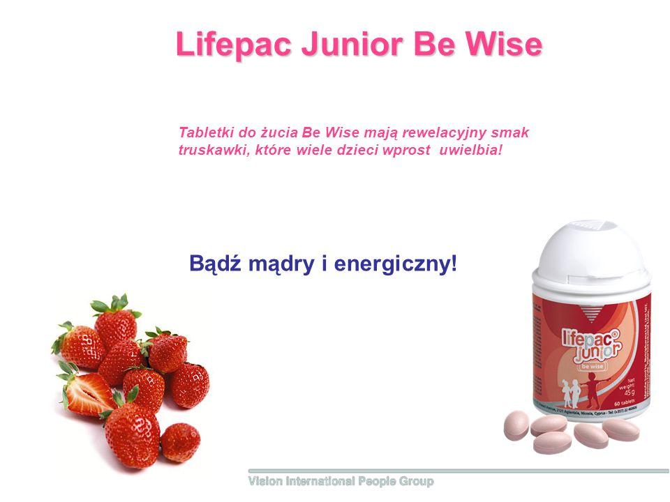 Bądź mądry i energiczny! Lifepac Junior Be Wise Tabletki do żucia Be Wise mają rewelacyjny smak truskawki, które wiele dzieci wprost uwielbia!