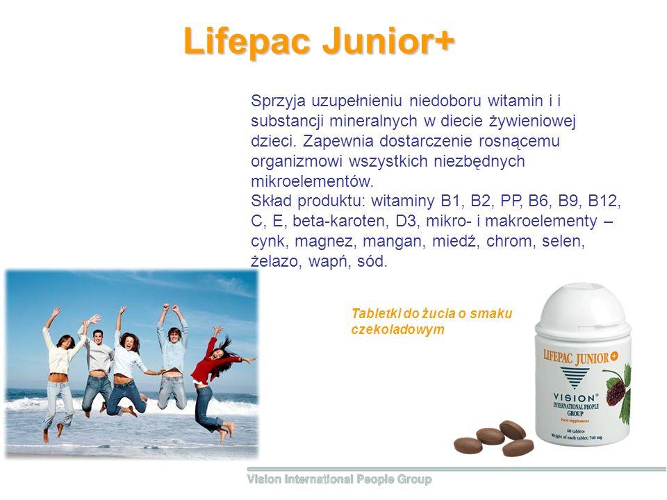 Lifepac Junior+ Sprzyja uzupełnieniu niedoboru witamin i i substancji mineralnych w diecie żywieniowej dzieci. Zapewnia dostarczenie rosnącemu organiz