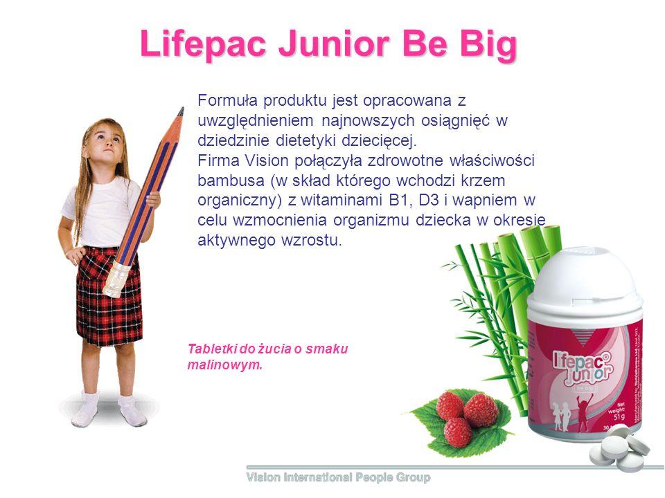 Lifepac Junior Be Big Formuła produktu jest opracowana z uwzględnieniem najnowszych osiągnięć w dziedzinie dietetyki dziecięcej. Firma Vision połączył