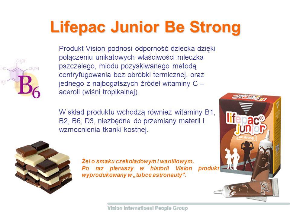 Lifepac Junior Be Strong W skład produktu wchodzą również witaminy B1, B2, B6, D3, niezbędne do przemiany materii i wzmocnienia tkanki kostnej. Produk