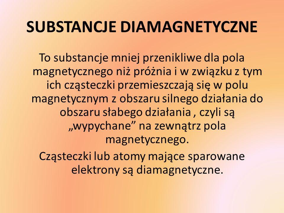 SUBSTANCJE DIAMAGNETYCZNE To substancje mniej przenikliwe dla pola magnetycznego niż próżnia i w związku z tym ich cząsteczki przemieszczają się w pol
