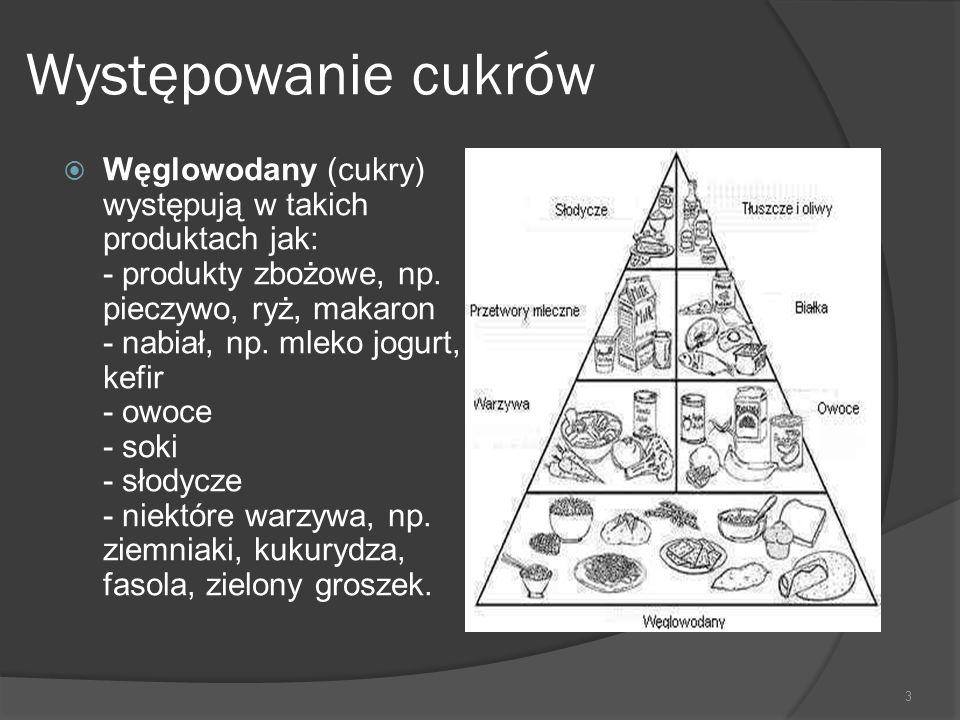 Występowanie cukrów  Węglowodany (cukry) występują w takich produktach jak: - produkty zbożowe, np. pieczywo, ryż, makaron - nabiał, np. mleko jogurt