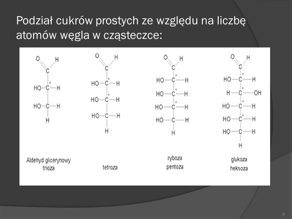 Podział cukrów prostych ze względu na liczbę atomów węgla w cząsteczce: 9
