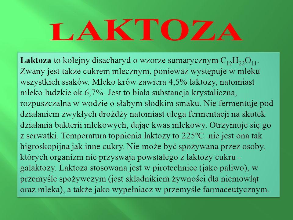 Laktoza to kolejny disacharyd o wzorze sumarycznym C 12 H 22 O 11. Zwany jest także cukrem mlecznym, ponieważ występuje w mleku wszystkich ssaków. Mle
