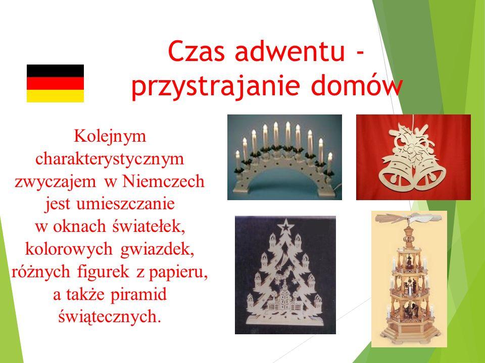 Czas adwentu - przystrajanie domów Kolejnym charakterystycznym zwyczajem w Niemczech jest umieszczanie w oknach światełek, kolorowych gwiazdek, różnych figurek z papieru, a także piramid świątecznych.