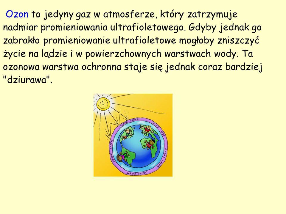 Ozon to jedyny gaz w atmosferze, który zatrzymuje nadmiar promieniowania ultrafioletowego. Gdyby jednak go zabrakło promieniowanie ultrafioletowe mogł