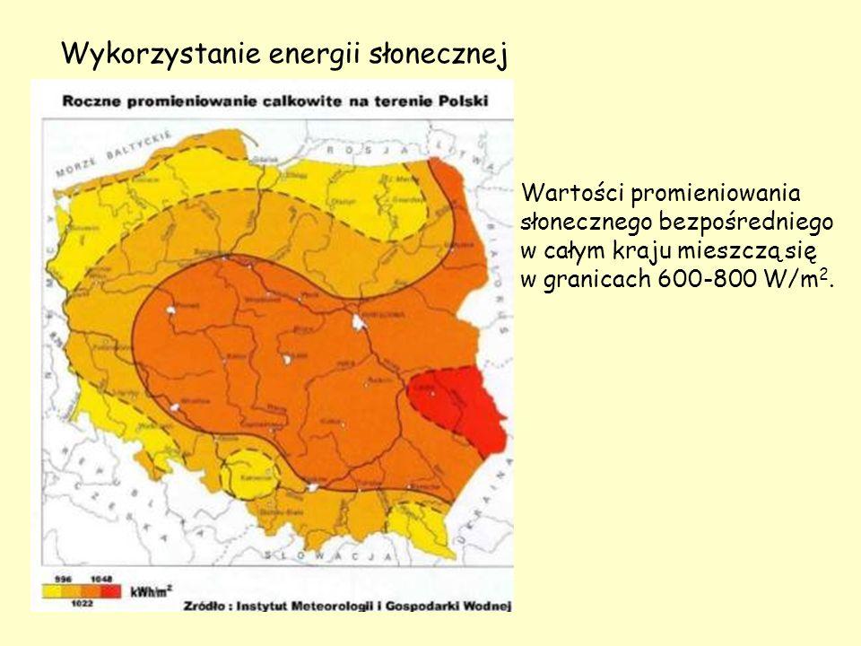 Wykorzystanie energii słonecznej Wartości promieniowania słonecznego bezpośredniego w całym kraju mieszczą się w granicach 600-800 W/m 2.