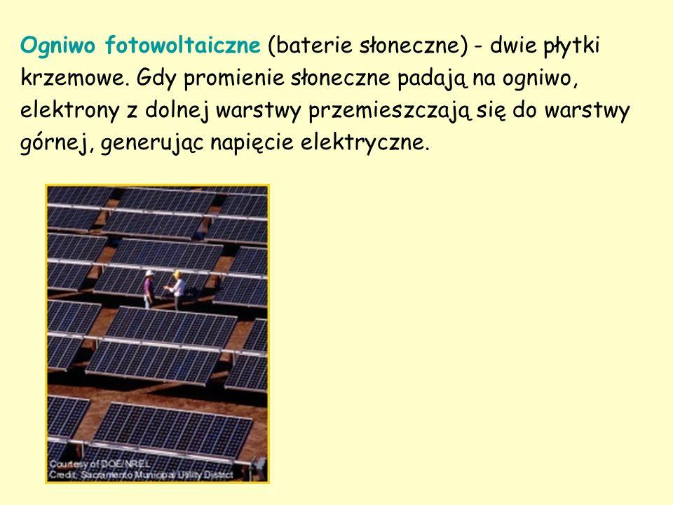 Ogniwo fotowoltaiczne (baterie słoneczne) - dwie płytki krzemowe. Gdy promienie słoneczne padają na ogniwo, elektrony z dolnej warstwy przemieszczają
