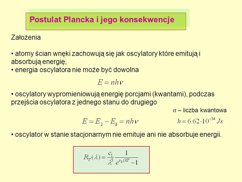 Postulat Plancka i jego konsekwencje Założenia atomy ścian wnęki zachowują się jak oscylatory które emitują i absorbują energię, energia oscylatora ni