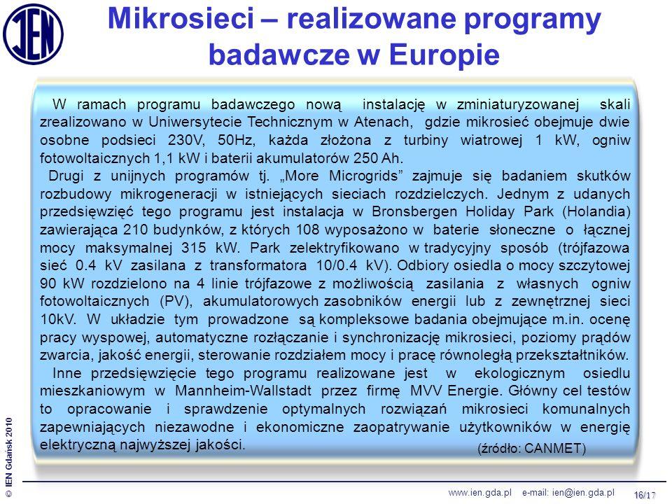 16/ 17 © IEN Gdańsk 2010 www.ien.gda.pl e-mail: ien@ien.gda.pl Mikrosieci – realizowane programy badawcze w Europie W ramach programu badawczego nową