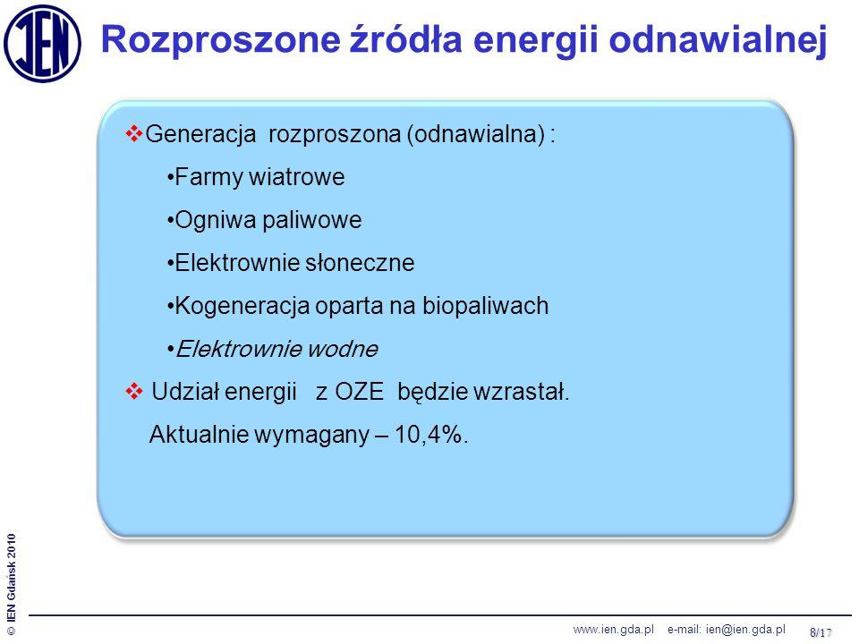 8/ 17 © IEN Gdańsk 2010 www.ien.gda.pl e-mail: ien@ien.gda.pl Rozproszone źródła energii odnawialnej  Generacja rozproszona (odnawialna) : Farmy wiatrowe Ogniwa paliwowe Elektrownie słoneczne Kogeneracja oparta na biopaliwach Elektrownie wodne  Udział energii z OZE będzie wzrastał.