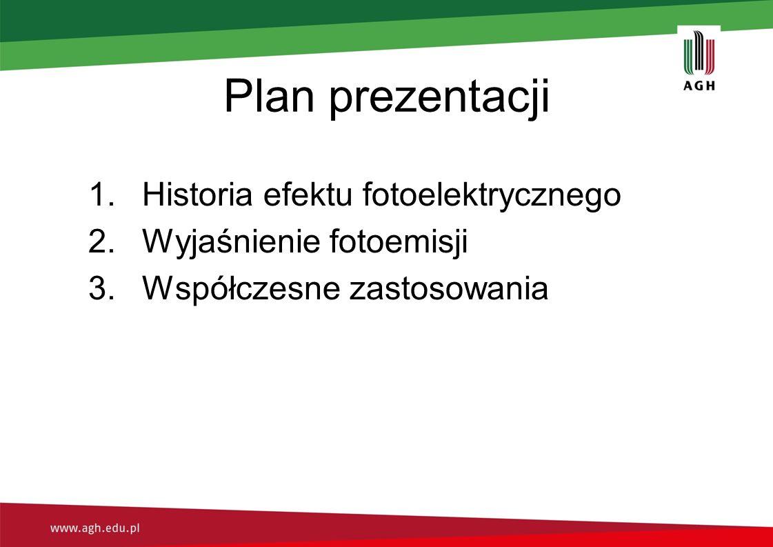 Plan prezentacji 1.Historia efektu fotoelektrycznego 2.Wyjaśnienie fotoemisji 3.Współczesne zastosowania
