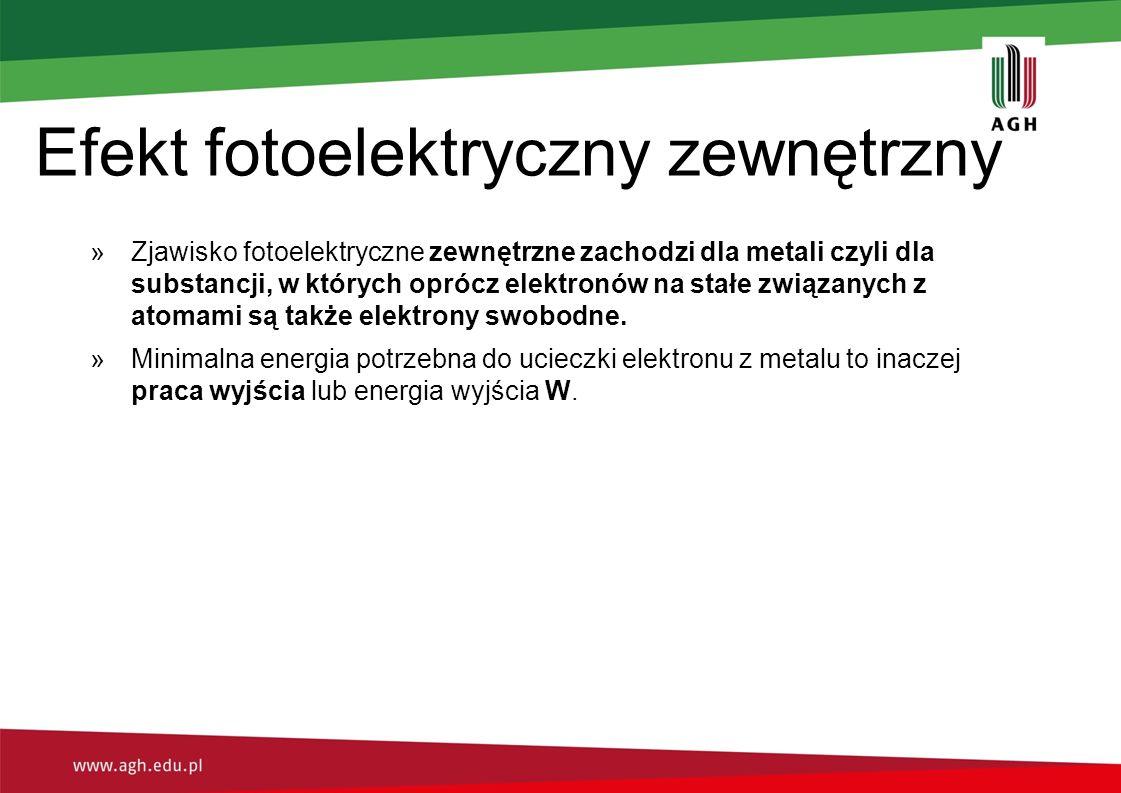 Efekt fotoelektryczny zewnętrzny »Zjawisko fotoelektryczne zewnętrzne zachodzi dla metali czyli dla substancji, w których oprócz elektronów na stałe z