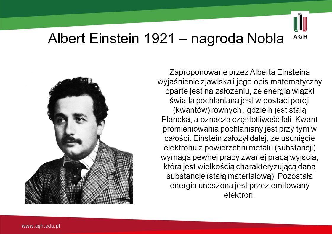 Albert Einstein 1921 – nagroda Nobla Zaproponowane przez Alberta Einsteina wyjaśnienie zjawiska i jego opis matematyczny oparte jest na założeniu, że
