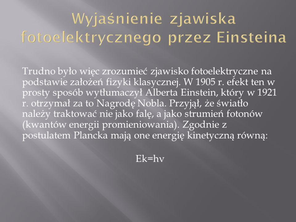 Trudno było więc zrozumieć zjawisko fotoelektryczne na podstawie założeń fizyki klasycznej. W 1905 r. efekt ten w prosty sposób wytłumaczył Alberta Ei