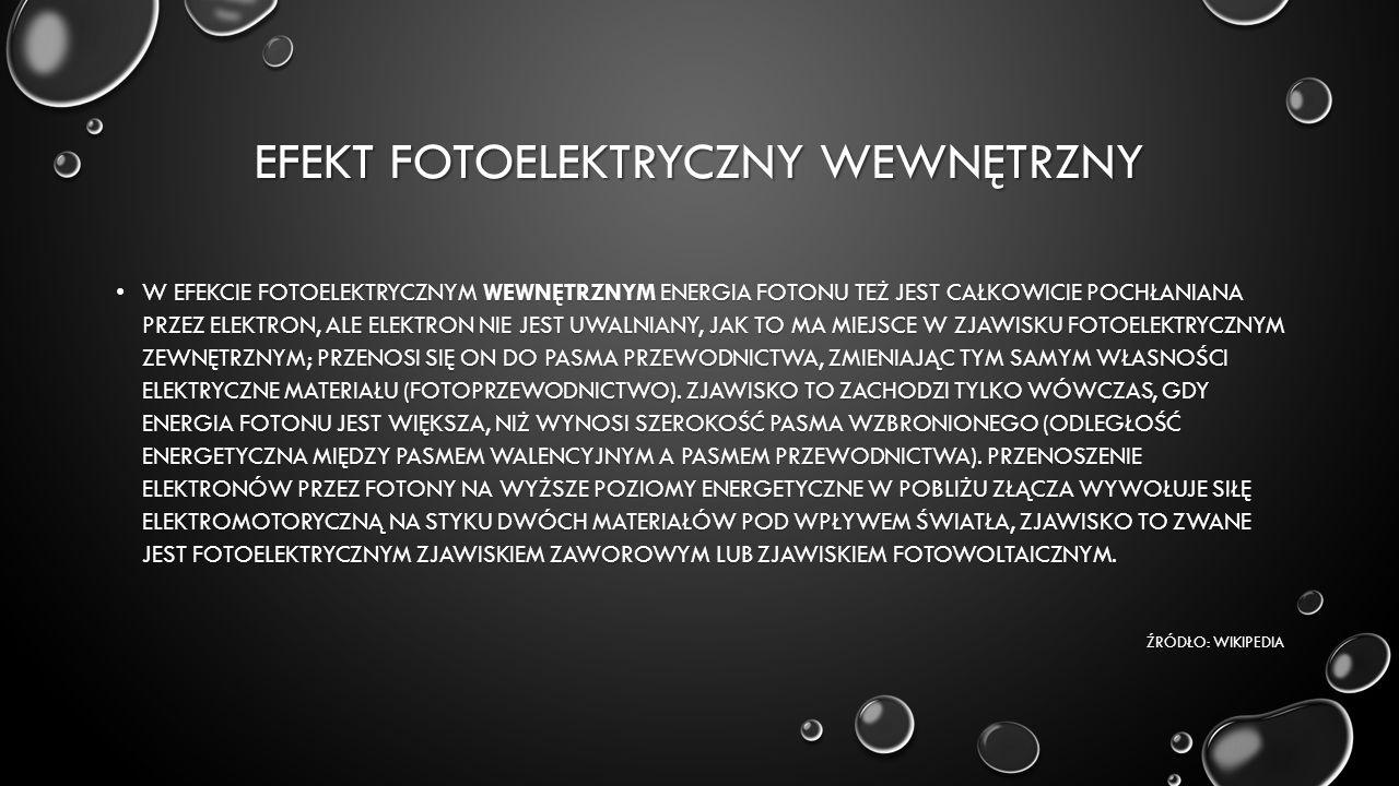 EFEKT FOTOELEKTRYCZNY WEWNĘTRZNY W EFEKCIE FOTOELEKTRYCZNYM WEWNĘTRZNYM ENERGIA FOTONU TEŻ JEST CAŁKOWICIE POCHŁANIANA PRZEZ ELEKTRON, ALE ELEKTRON NI