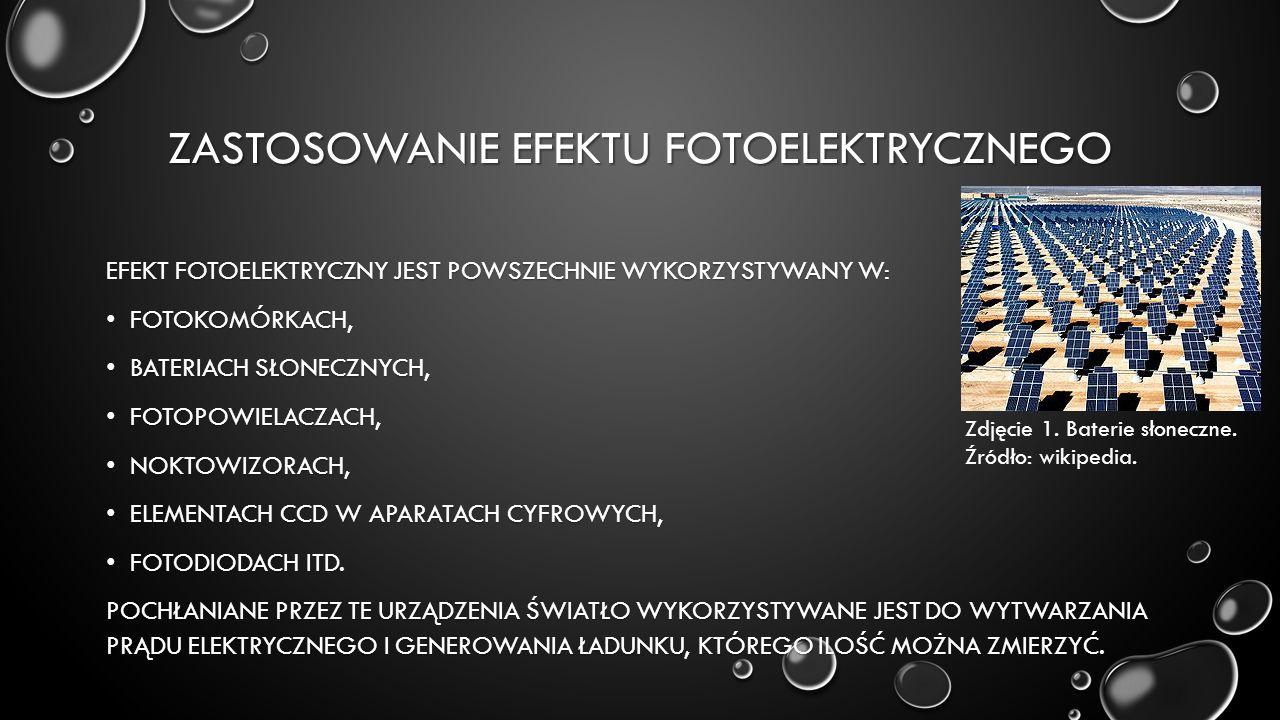 ZASTOSOWANIE EFEKTU FOTOELEKTRYCZNEGO EFEKT FOTOELEKTRYCZNY JEST POWSZECHNIE WYKORZYSTYWANY W: FOTOKOMÓRKACH, FOTOKOMÓRKACH, BATERIACH SŁONECZNYCH, BATERIACH SŁONECZNYCH, FOTOPOWIELACZACH, FOTOPOWIELACZACH, NOKTOWIZORACH, NOKTOWIZORACH, ELEMENTACH CCD W APARATACH CYFROWYCH, ELEMENTACH CCD W APARATACH CYFROWYCH, FOTODIODACH ITD.