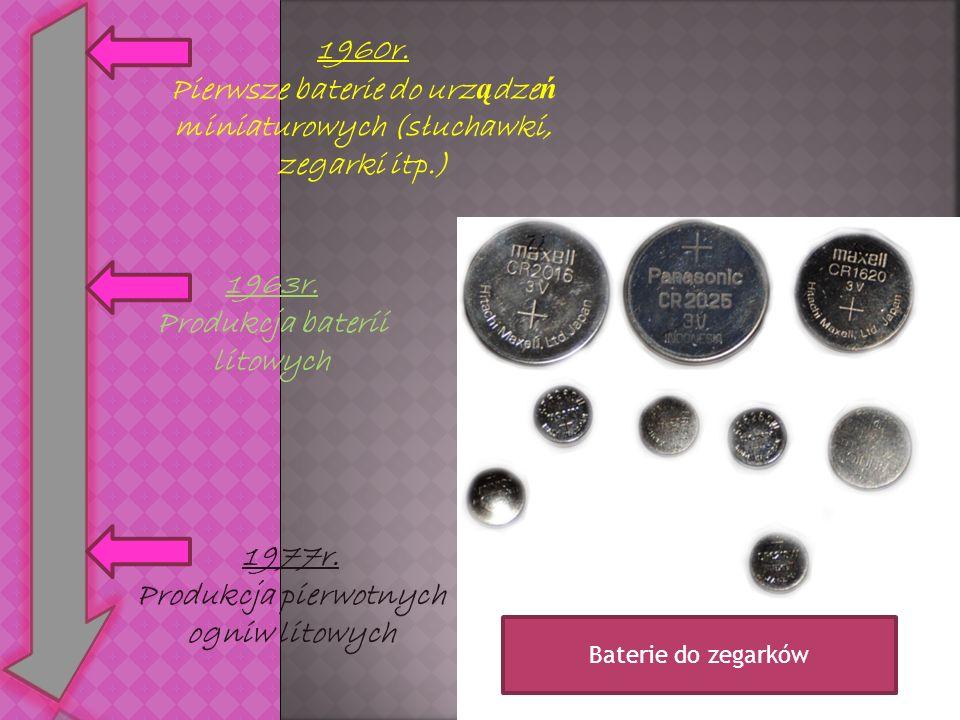 1960r. Pierwsze baterie do urz ą dze ń miniaturowych (słuchawki, zegarki itp.) 1963r. Produkcja baterii litowych 1977r. Produkcja pierwotnych ogniw li
