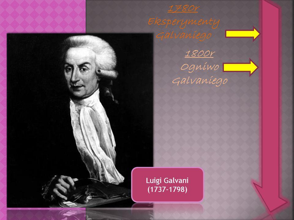 1780r Eksperymenty Galvaniego 1800r Ogniwo Galvaniego