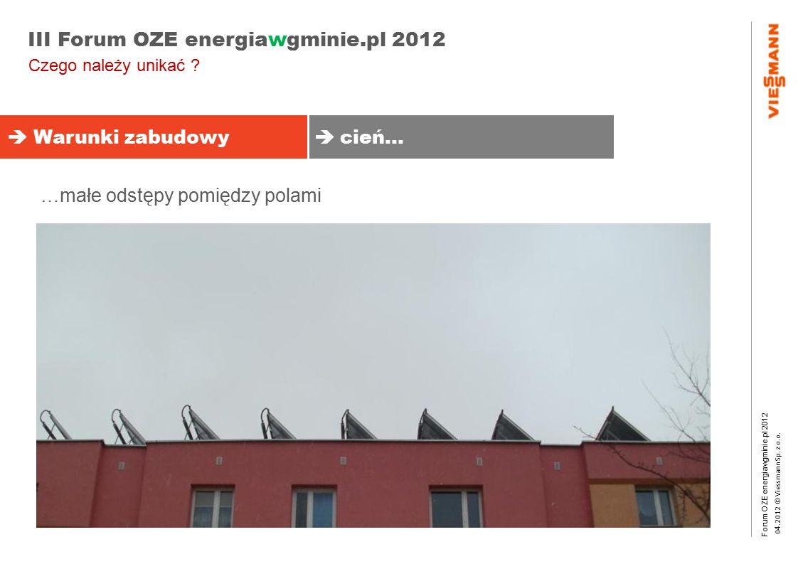 Forum OZE energiawgminie.pl 2012 0 4.2012 © Viessmann Sp. z o.o. III Forum OZE energiawgminie.pl 2012  Warunki zabudowy  cień… Czego należy unikać ?