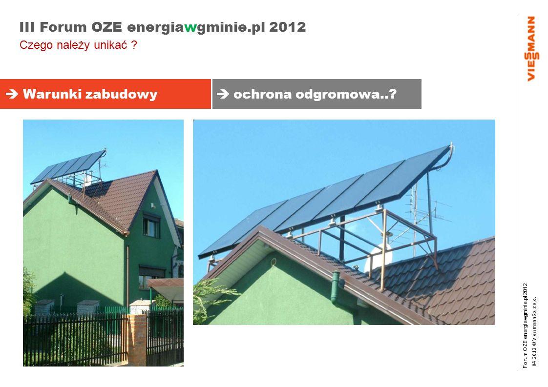 Forum OZE energiawgminie.pl 2012 0 4.2012 © Viessmann Sp. z o.o. III Forum OZE energiawgminie.pl 2012  Warunki zabudowy  ochrona odgromowa..? Czego