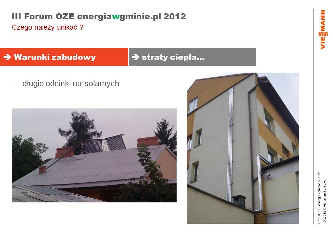 Forum OZE energiawgminie.pl 2012 0 4.2012 © Viessmann Sp. z o.o. III Forum OZE energiawgminie.pl 2012  Warunki zabudowy  straty ciepła… Czego należy