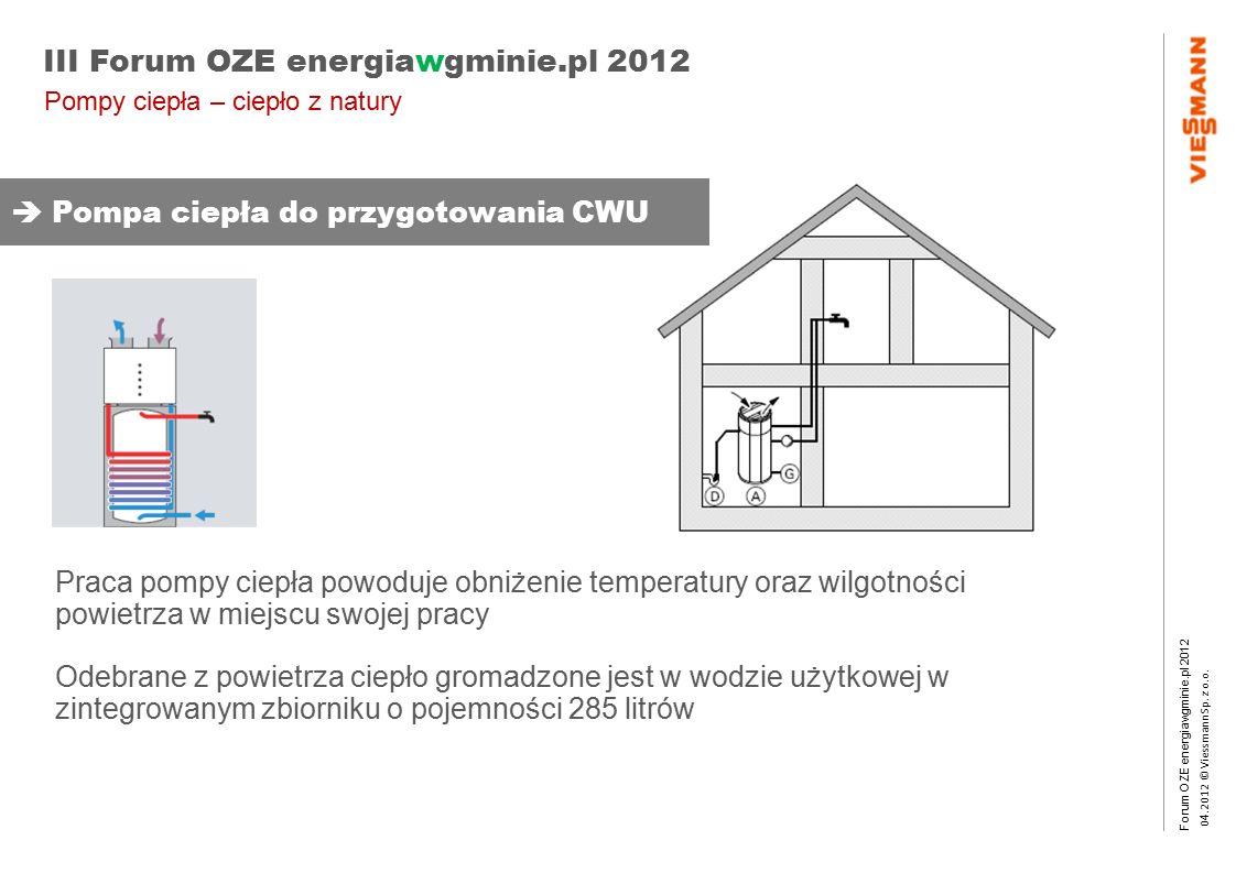 Forum OZE energiawgminie.pl 2012 0 4.2012 © Viessmann Sp. z o.o. III Forum OZE energiawgminie.pl 2012 Praca pompy ciepła powoduje obniżenie temperatur