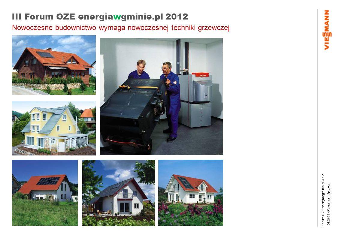 Forum OZE energiawgminie.pl 2012 0 4.2012 © Viessmann Sp. z o.o. III Forum OZE energiawgminie.pl 2012 Nowoczesne budownictwo wymaga nowoczesnej techni