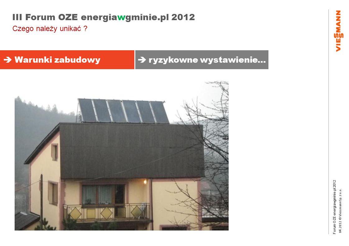 Forum OZE energiawgminie.pl 2012 0 4.2012 © Viessmann Sp. z o.o. III Forum OZE energiawgminie.pl 2012 Czego należy unikać ?  Warunki zabudowy  ryzyk