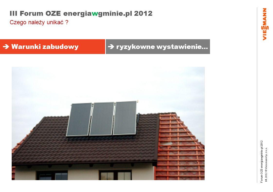 Forum OZE energiawgminie.pl 2012 0 4.2012 © Viessmann Sp. z o.o. III Forum OZE energiawgminie.pl 2012  Warunki zabudowy  ryzykowne wystawienie… Czeg