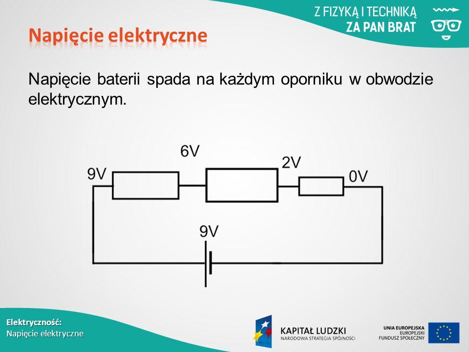 Elektryczność: Napięcie elektryczne Napięcie baterii spada na każdym oporniku w obwodzie elektrycznym.