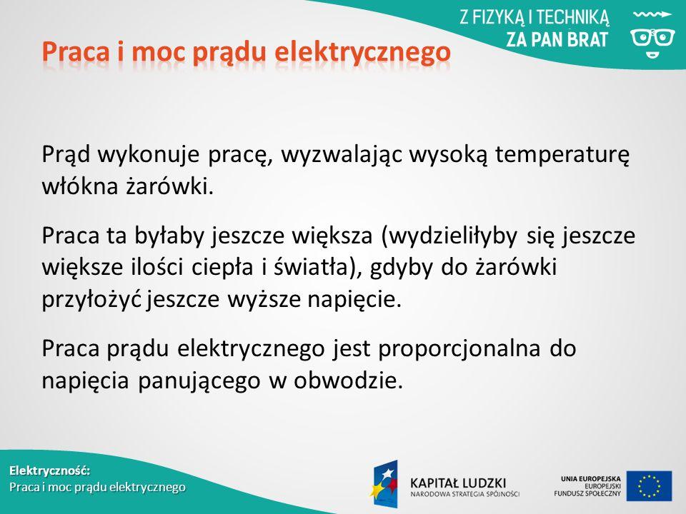 Elektryczność: Praca i moc prądu elektrycznego Prąd wykonuje pracę, wyzwalając wysoką temperaturę włókna żarówki.