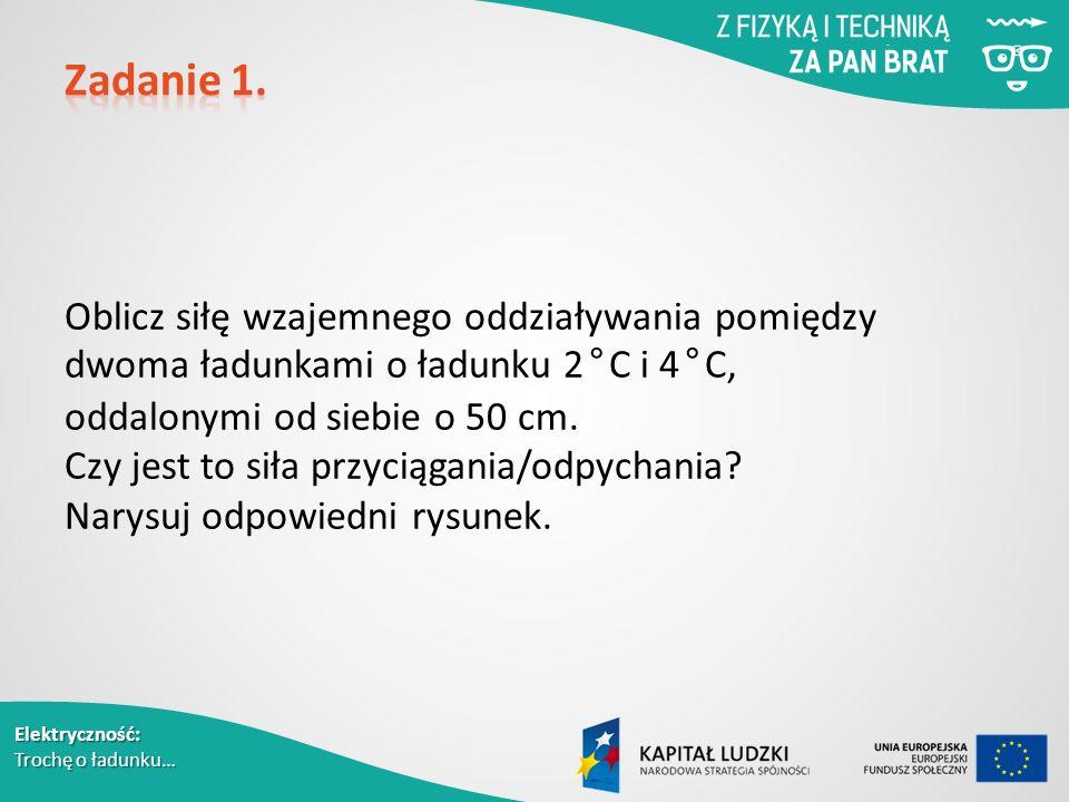 Elektryczność: Trochę o ładunku… Oblicz siłę wzajemnego oddziaływania pomiędzy dwoma ładunkami o ładunku 2 ° C i 4 ° C, oddalonymi od siebie o 50 cm.