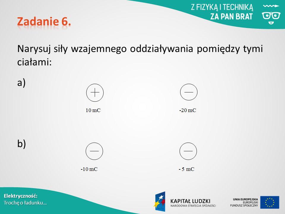 Elektryczność: Trochę o ładunku… Narysuj siły wzajemnego oddziaływania pomiędzy tymi ciałami: a) b)