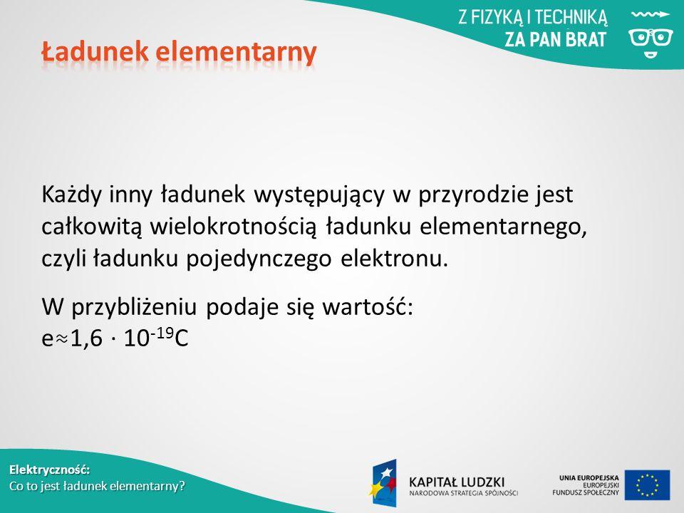 Elektryczność: Co to jest ładunek elementarny.