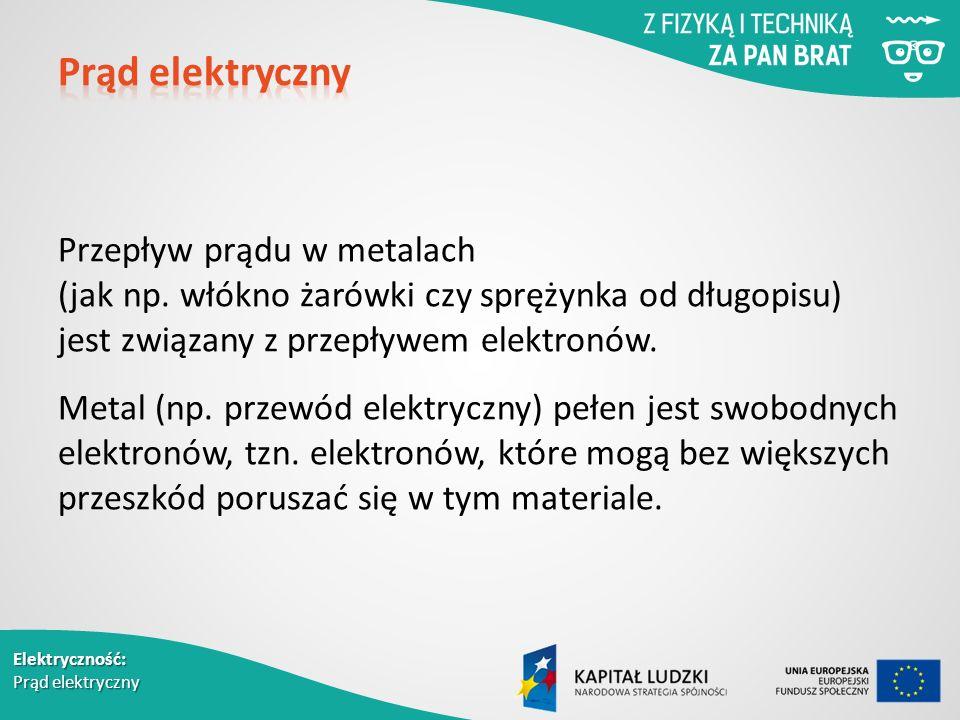 Elektryczność: Prąd elektryczny Przepływ prądu w metalach (jak np.