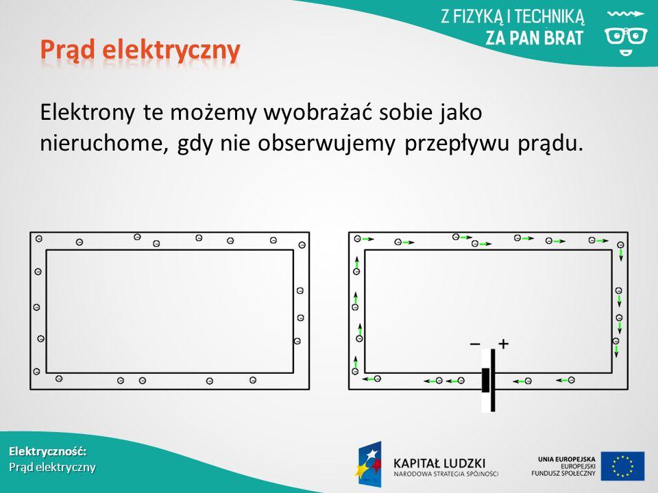 Elektryczność: Prąd elektryczny Elektrony te możemy wyobrażać sobie jako nieruchome, gdy nie obserwujemy przepływu prądu.