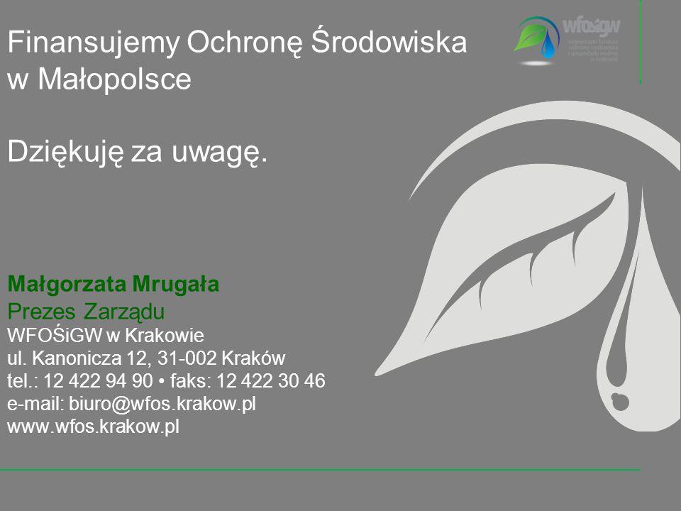 Finansujemy Ochronę Środowiska w Małopolsce Dziękuję za uwagę. Małgorzata Mrugała Prezes Zarządu WFOŚiGW w Krakowie ul. Kanonicza 12, 31-002 Kraków te