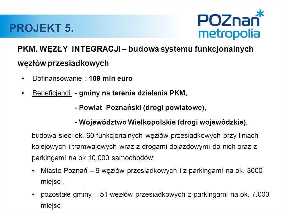 PKM. WĘZŁY INTEGRACJI – budowa systemu funkcjonalnych węzłów przesiadkowych Dofinansowanie :109 mln euro Beneficjenci:- gminy na terenie działania PKM