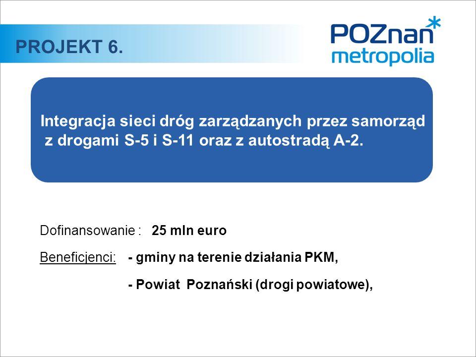 Dofinansowanie :25 mln euro Beneficjenci:- gminy na terenie działania PKM, - Powiat Poznański (drogi powiatowe), PROJEKT 6. Integracja sieci dróg zarz